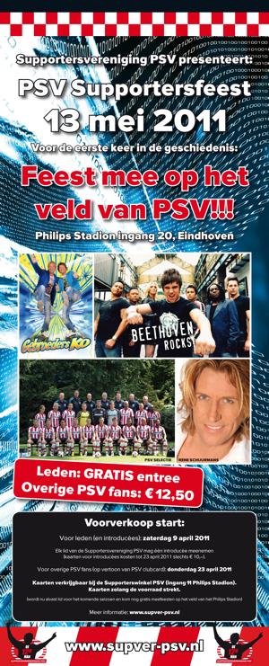 PSV supportersfeest op het veld van PSV met de PSV Selectie Beethoven De Gebroeders Ko en Rene Schuurmans